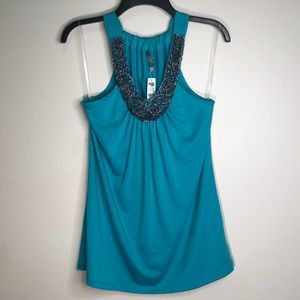 Charlotte Russe Teal Beaded Tank Top | NWT NEW